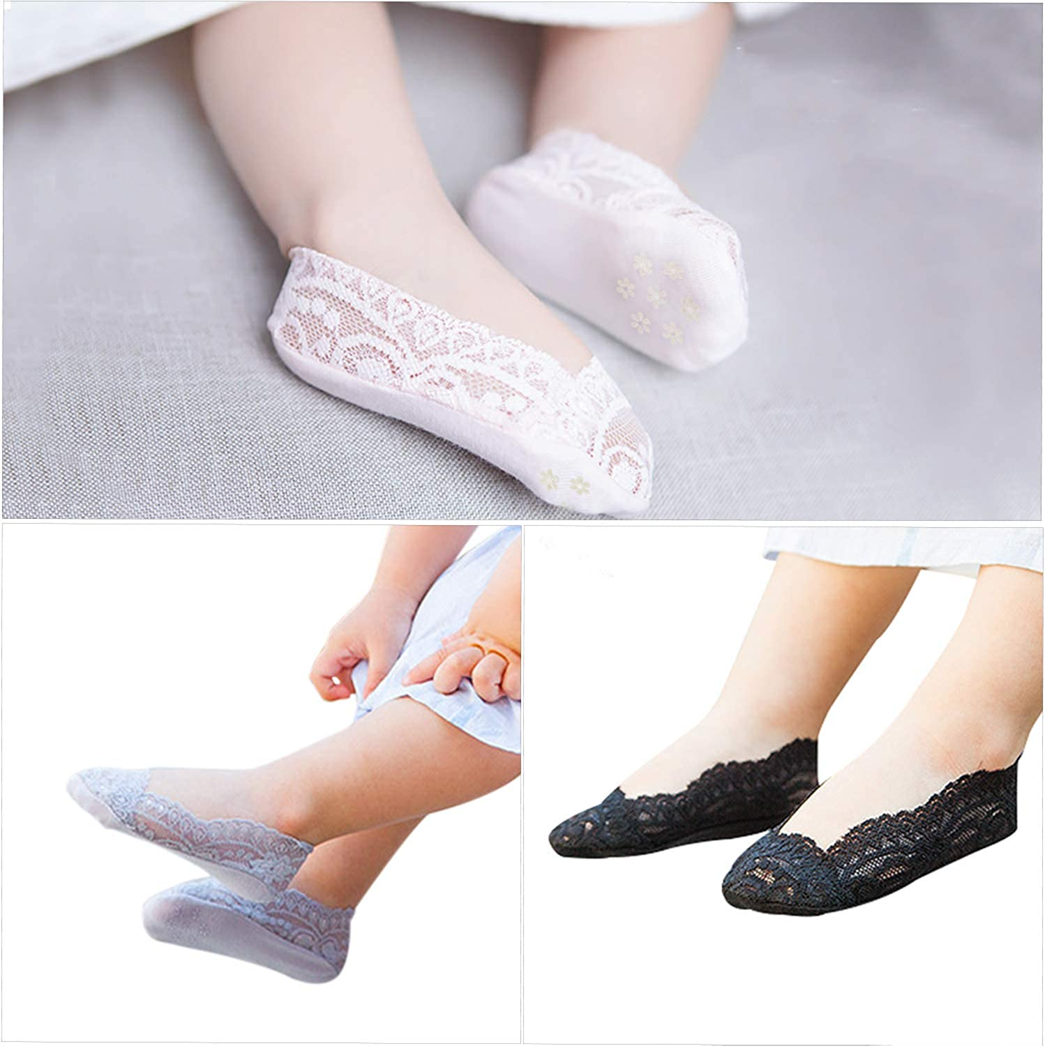 Girls Lace No Show Socks Non-slip Silicone Grips Low Cut Boat Liner Loafer Sock