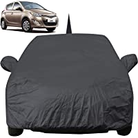 Autofact Car Body Cover for Hyundai I20 Old Model (2008 to 2014) with Mirror and Antenna Pocket (Light Weight, Triple Stitched, Heavy Buckle, Bottom Fully Elastic, Grey)