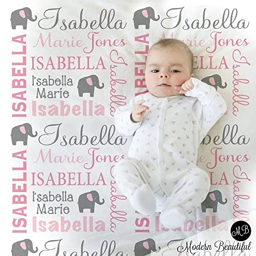 d83ed24d159c Amazon.com  Pink and gray elephant personalized name baby blanket ...