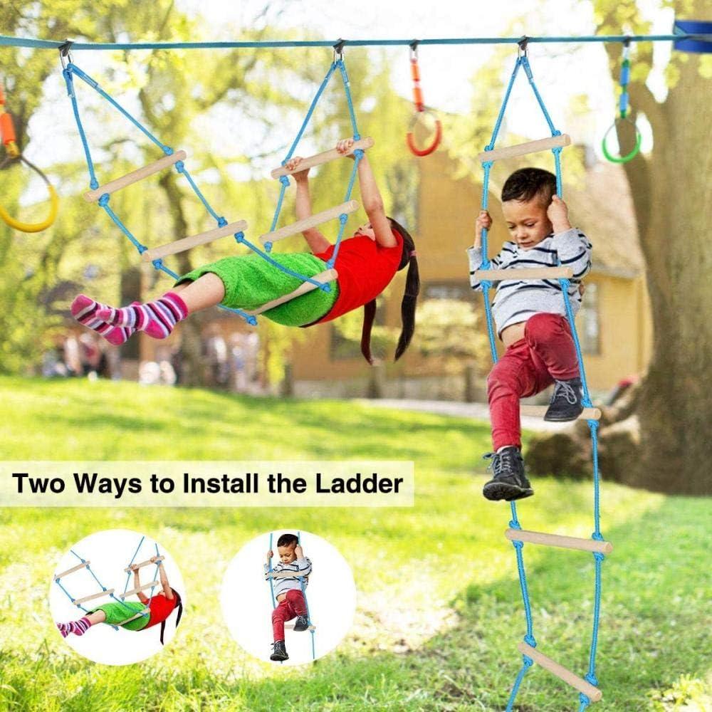 A/&Q Slackline Kit Parcours dobstacles /À Suspendre Mixte,Parcours dobstacles Ninja Warrior pour Enfants 50Ft Ninja Slackline avec 13 Accessoires Swing Ladder Twister Wheel Anneaux Bars