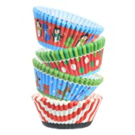 ChefCity Baking Cups Muffin Liners, Disposable Cupcake Holders, Standard Size Christmas Holiday Design Paper Wrappers. (Pack of 150)