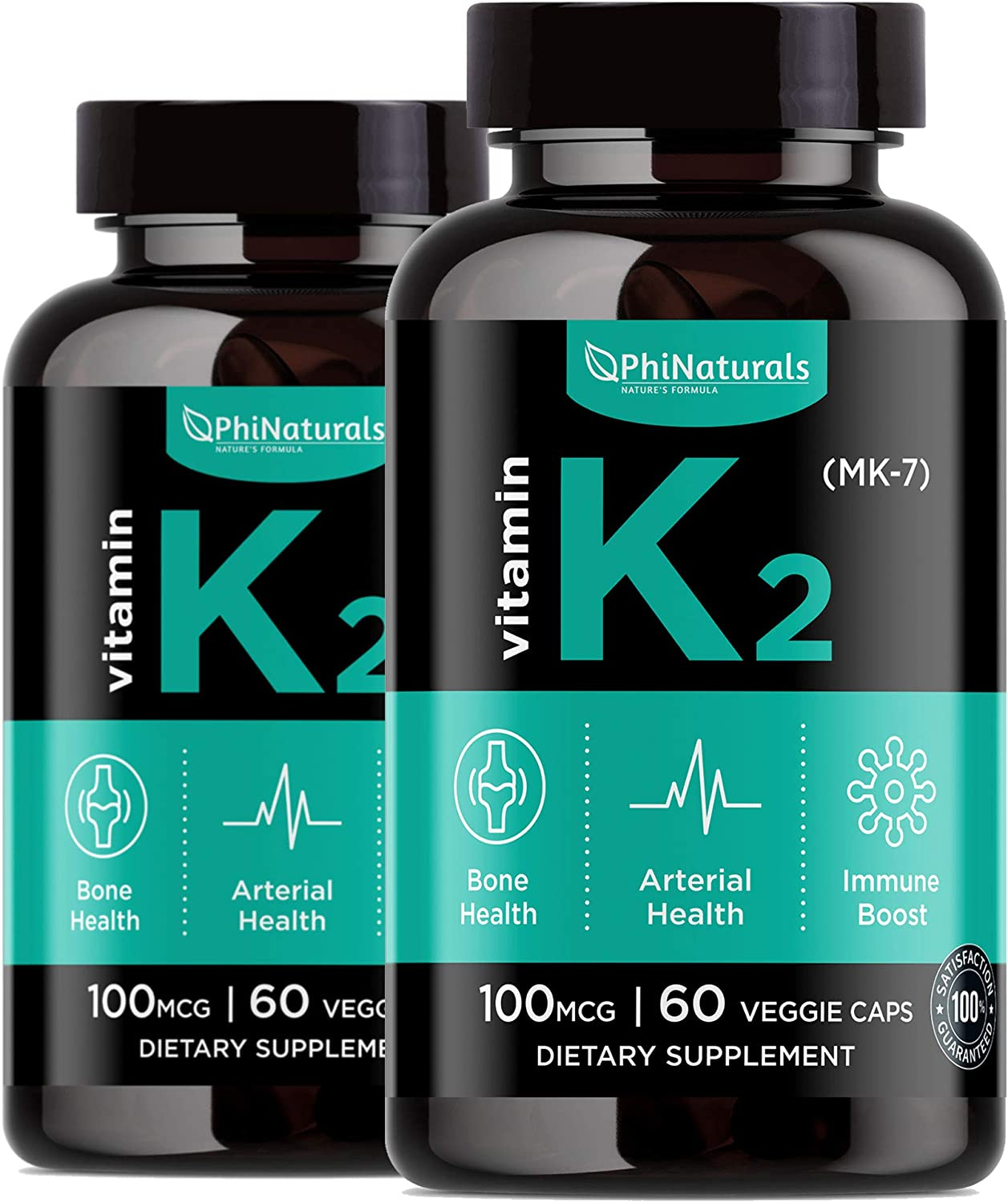 Vitamin K2 - MK7 (Pack of 2) - K2 100mcg - K2 Natto Supplement Complex - Support Bone Health Heart Teeth - Made in USA (60 Easy to Swallow Small Capsules)