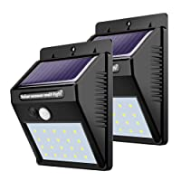 iBazal LED Solar Lights Outdoor, 20 Led Motion Sensor Outdoor Lights Wireless Solar Powered Security Lights Waterproof/120 Degree Wide Led Wall Lights for Garden, Fence, Patio, Yard, Stairs etc.