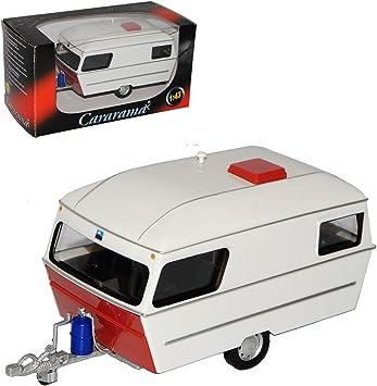 Wohnwagen Cararama 1:43 Trailer Camper darkred Anhänger