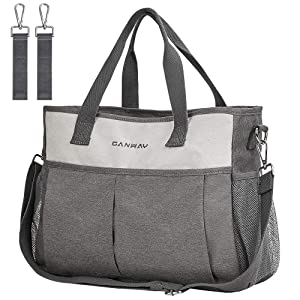Diaper Bag Tote, CANWAY Travel Diaper Bag Convertible Baby Bag with Insulated Pocket, Shoulder and Stroller Straps, Multifunction Diaper Maternity Bag Stylish and Waterproof for Mom and Dad