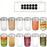 FRUITEAM 8 oz Regular Mouth Mason Jars with Lids and Bands-Set of 12, Quilted Crystal Jars Ideal for Jams, Jellies…