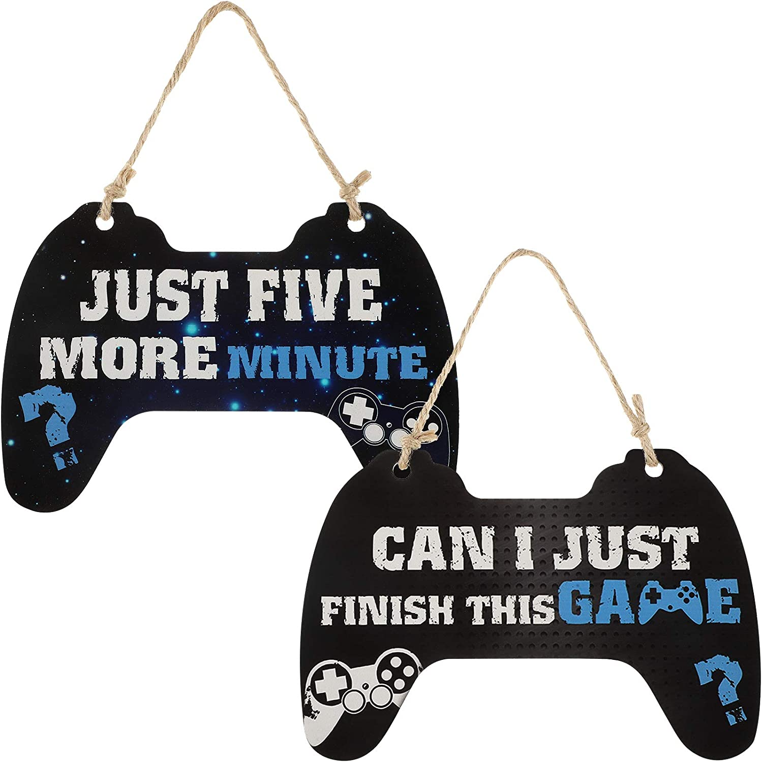 2 Pieces Door Gaming Sign Just Five More Minutes Gamer Signs Can I Just Finish This Game Bedroom Sign Game Controller Wood Sign Game Wood Sign Hanging Gamer Wooden Plaque Quote Hanging for Bedroom