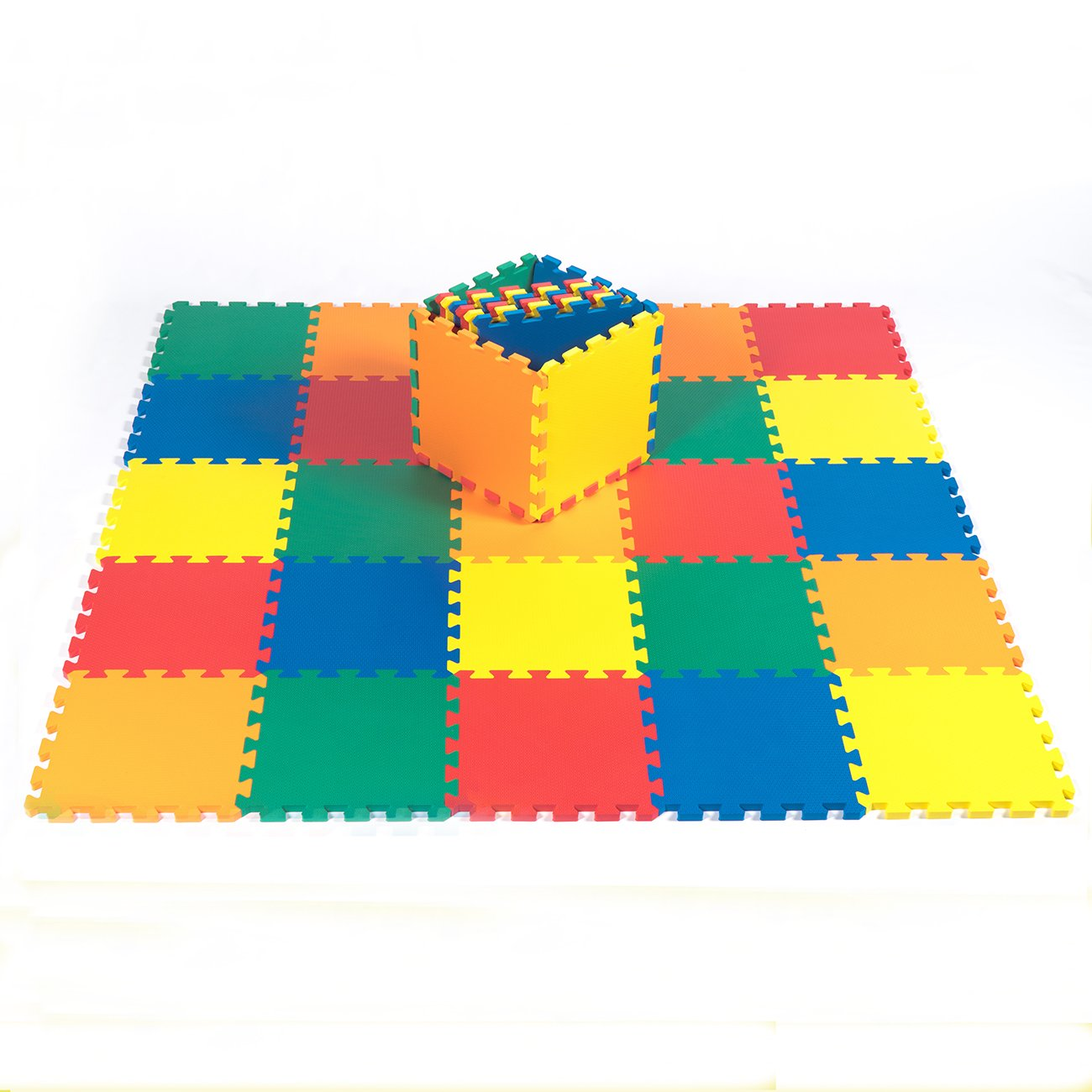 Kidzone 12''x12'' 36 Pcs NON-TOXIC EVA Foam Puzzle Mat,5 Colors Kids Toddlers Baby 1/2'' Thick Made in Taiwan Meet ASTM
