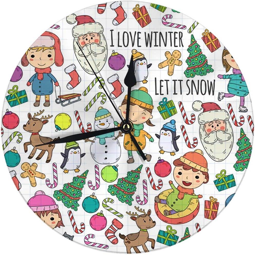 Amazon Com Yilinger Wall Clock No Ticking 9 8 Inch Children And Winter Games Ski Sledge Ice Skating Christmas Celebration Kindergarten Kids Play Digital Round Clock Home Kitchen