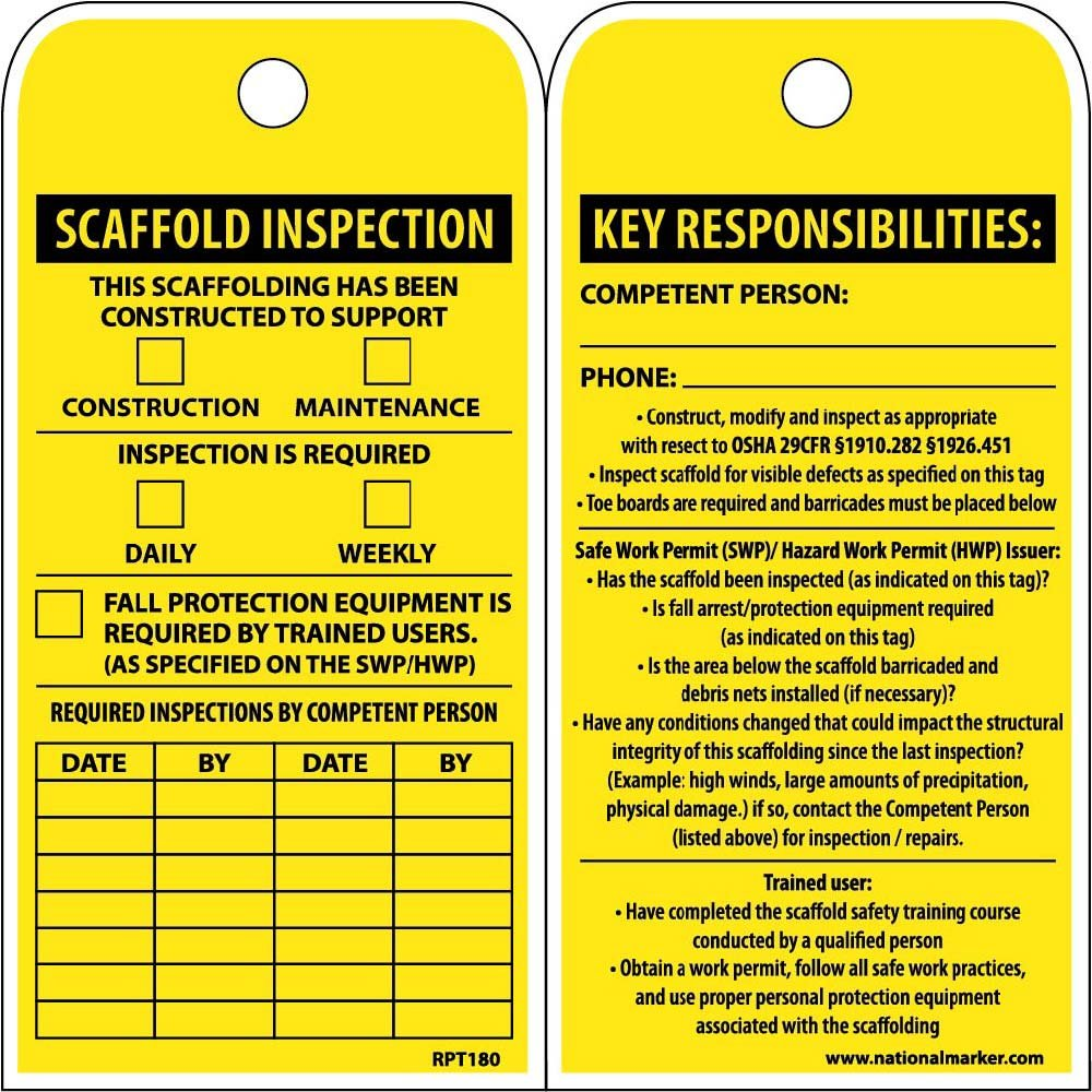 National Marker RPT180ST100 Tags, Scaffold Inspection This Scaffolding Has Been Constructed to Support, 6'' x 3'', Polytag, Box of 100, Tag