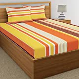 Home Ecstasy 100% Cotton Double bedsheet with 2 Pillow Covers Set, 140tc Stripe Orange bedsheets for Double Bed Cotton (Size 7.3ft x 7.7ft)