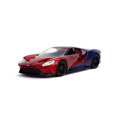 Jada Toys Metals Die-Cast Spider-Man 2020 Ford GT, 1:32 Scale Die-Cast Vehicle Red/Blue: Toys & Games