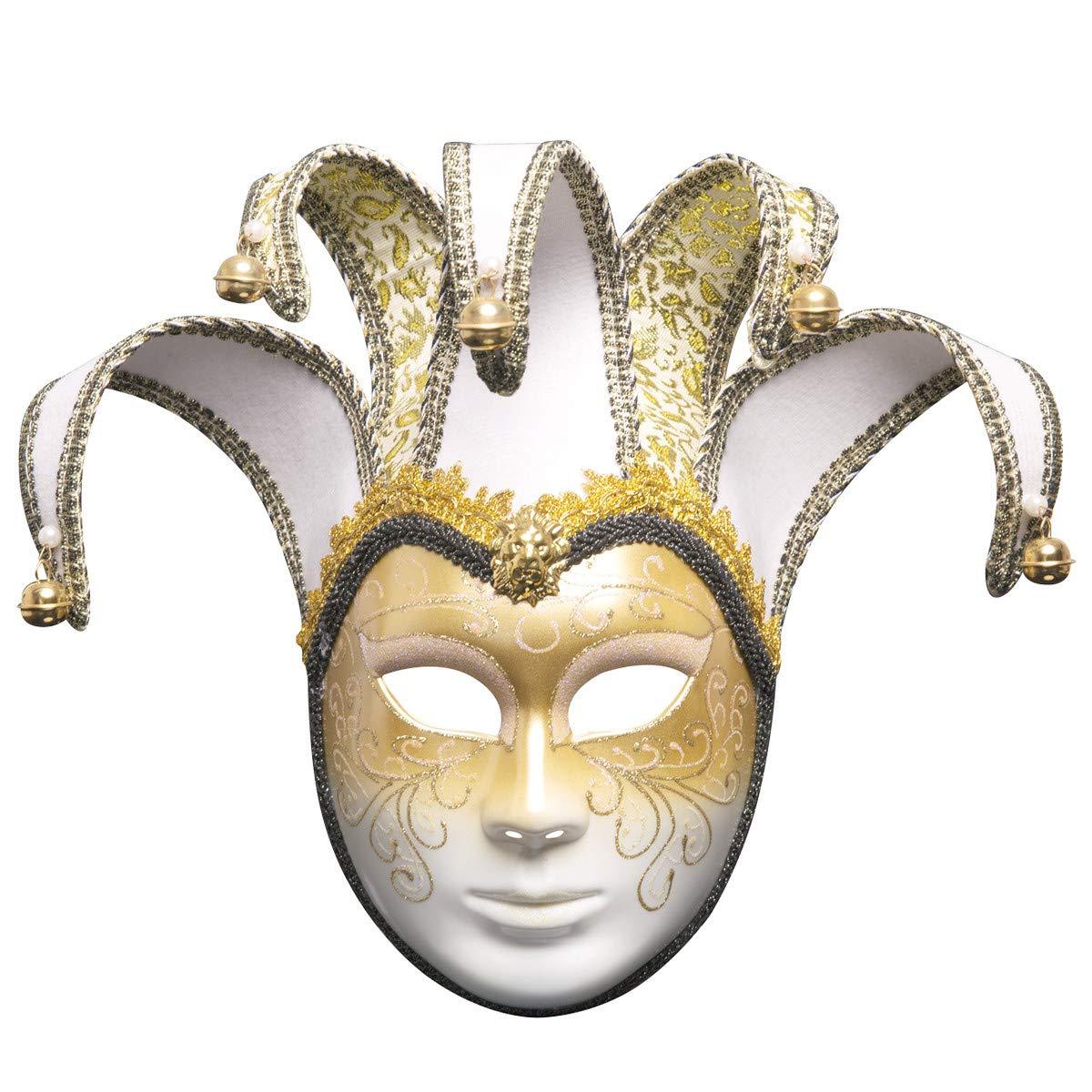 Sonmer Full Face Venetian Joker Masquerade Theater Mask, Mardi Gras Party Ball Mask (White)