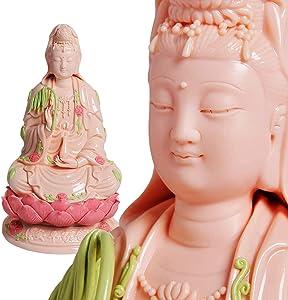 UPANV Guan Yin Statue, Quan Yin Statue, Kwan Yin Statue, Kuan Yin Statue, Home Decor Best Chinese Feng Shui Gifts - 14 Inches Top Ceramic Guanyin