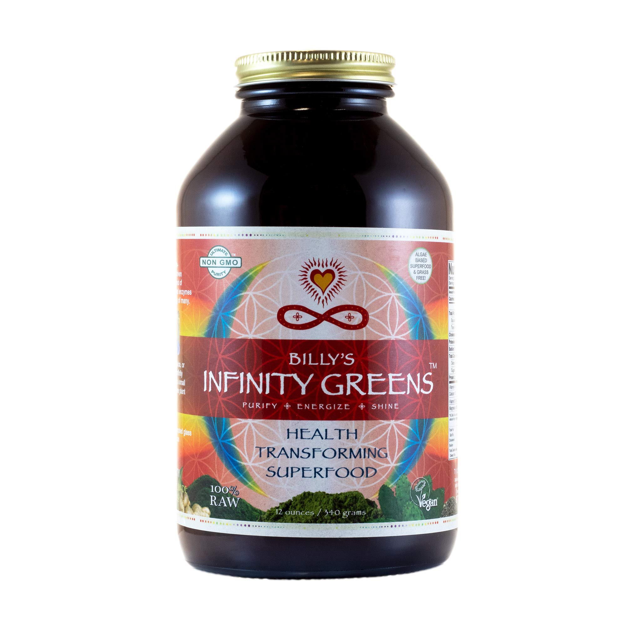 Infinity Greens: Superfood Formula for Weight-loss, Life-force & Longevity. 100% Organic & Wild-Harvested. 34 Servings (12 ounces)