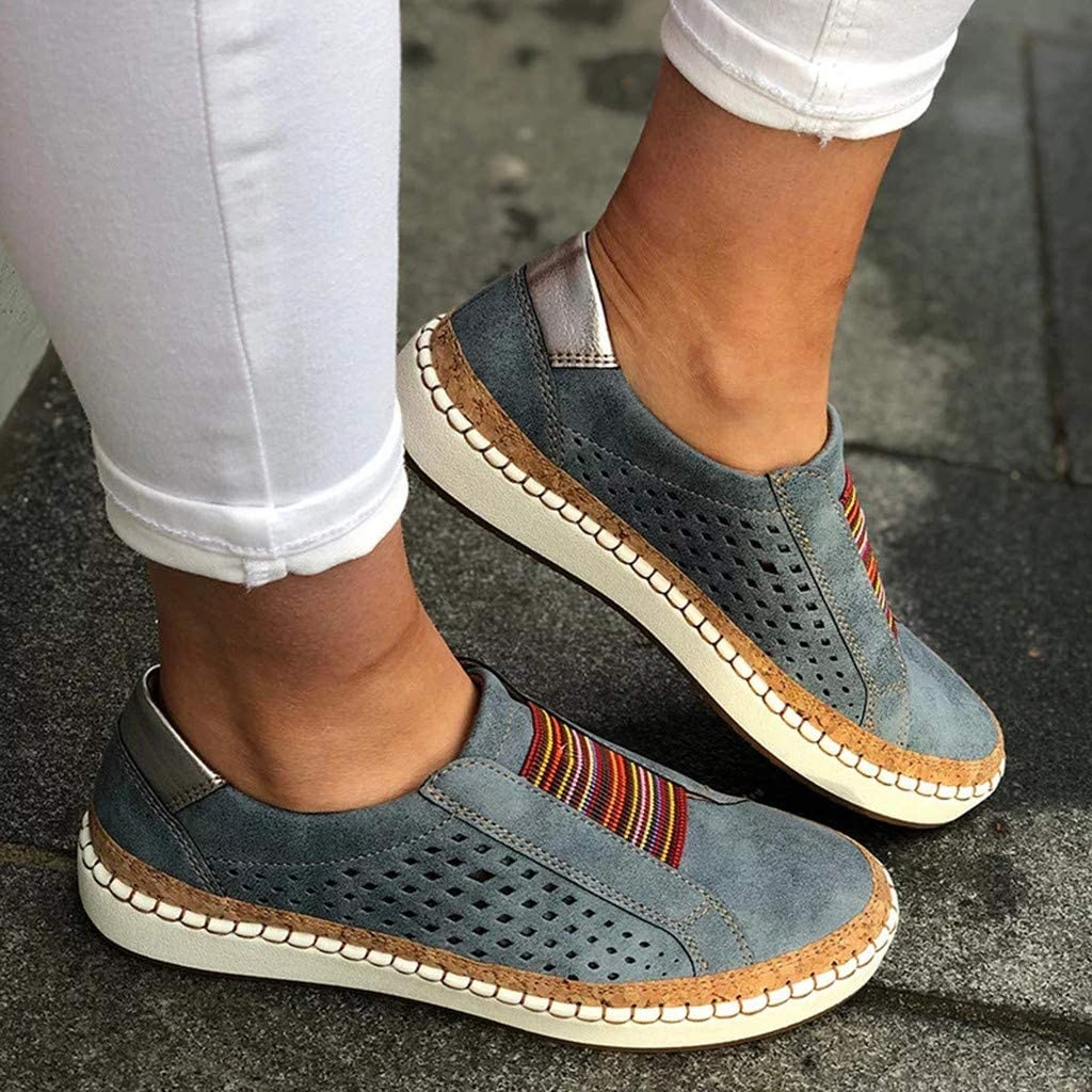 Women/'s Sneaker Flat Shoes Cutout Slip-On Sport Hollow-Out Round Toe Business Loafers Ankle Booties