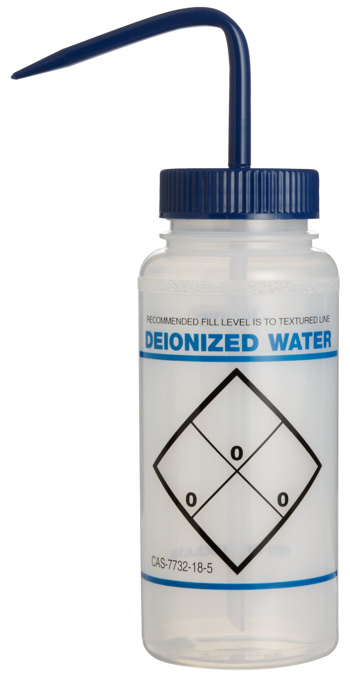 Bel-Art Safety-Labeled 2-Color Deionized Water Wide-Mouth Wash Bottles; 500ml (16oz), Polyethylene w/Blue Polypropylene Cap (Pack of 6) (F11646-0631) by SP Scienceware