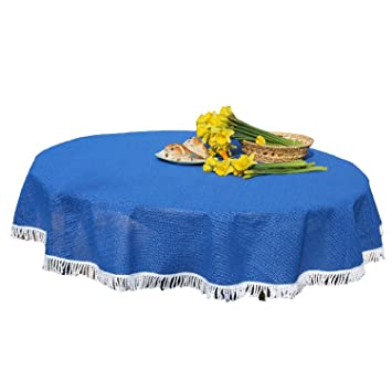 Stayput Non Slip All Weather Blue Patio Tablecloth With Umbrella Hole,  55u0026quot; ...
