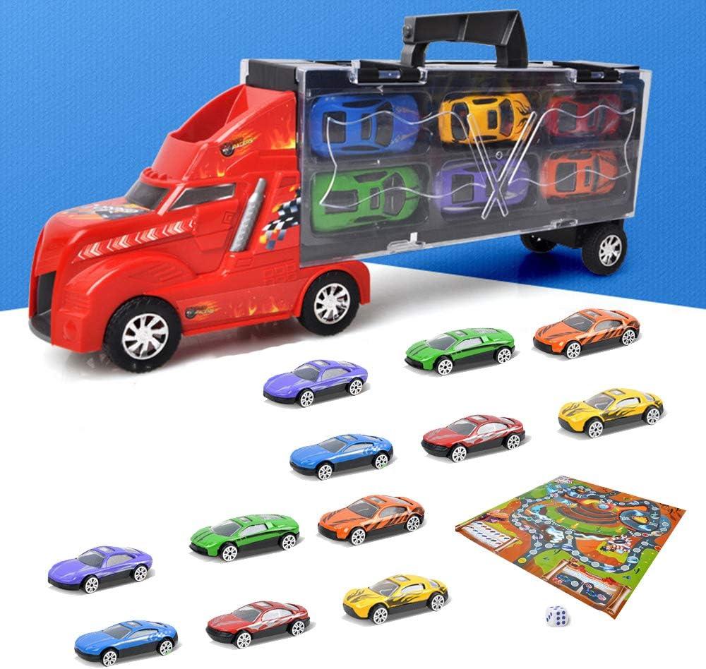 YGZN Coches Juguete para Niños,Camión transportador, Total 12 Coches, Maletín portacoches - 6 Colores, Cada uno Color Tiene Dos Coches y Mapa del Juego (Rojo)
