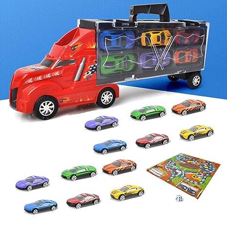 YGZN Coches Juguete para Niños,Camión transportador, Total 12 Coches, Maletín portacoches -