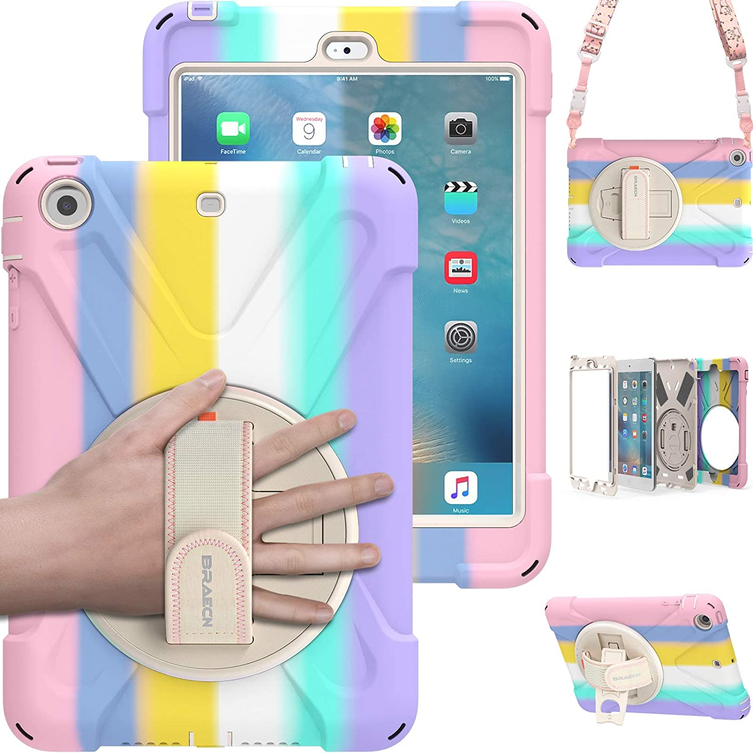 BRAECN iPad Mini 3 2 1 Case for Kids,Rugged Hard Heavy Duty Shockproof Boys Girls Case with Hand Strap, Carrying Shoulder Strap, Kickstand for Apple iPad Mini 1st 2nd 3rd Generation - Colorful Pink
