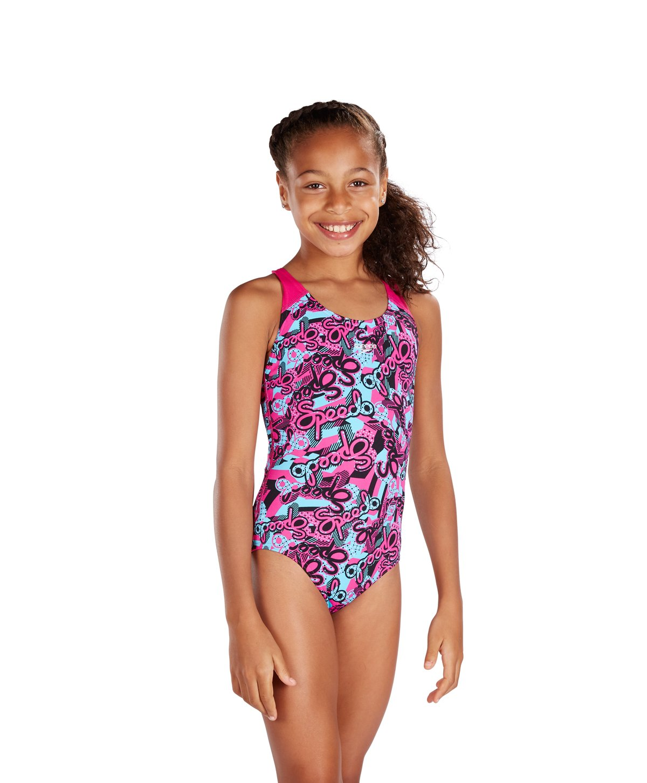 Speedo Girls Astropop Allover Splashback Swimsuit