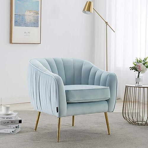 Altrobene Modern Accent Arm Chair, Velvet Upholstered Tub Chair with Gold Legs for Living Room Bedroom, Blue
