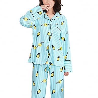 Pineapple Pattern Full Long Pajamas Set For Women Light Blue Female Lady Pyjamas Suit Sleepwear Homewear
