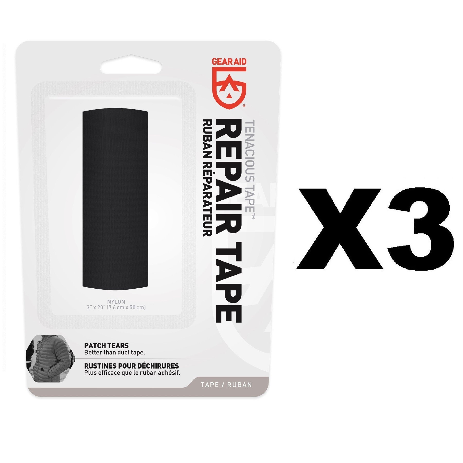 Gear Aid McNett Tenacious Tape Black Ultra Strong Outdoor Repair Tape (3-Pack) by Gear Aid (Image #1)