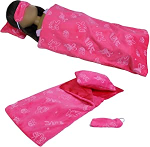 ZITA ELEMENT Set of 3 American 14 to 14.5 Inch Girl Doll Sleeping Bag, Pillow and Eye Mask for 14 Inch to 14.5 Inch Doll Accessories Xmas Gift