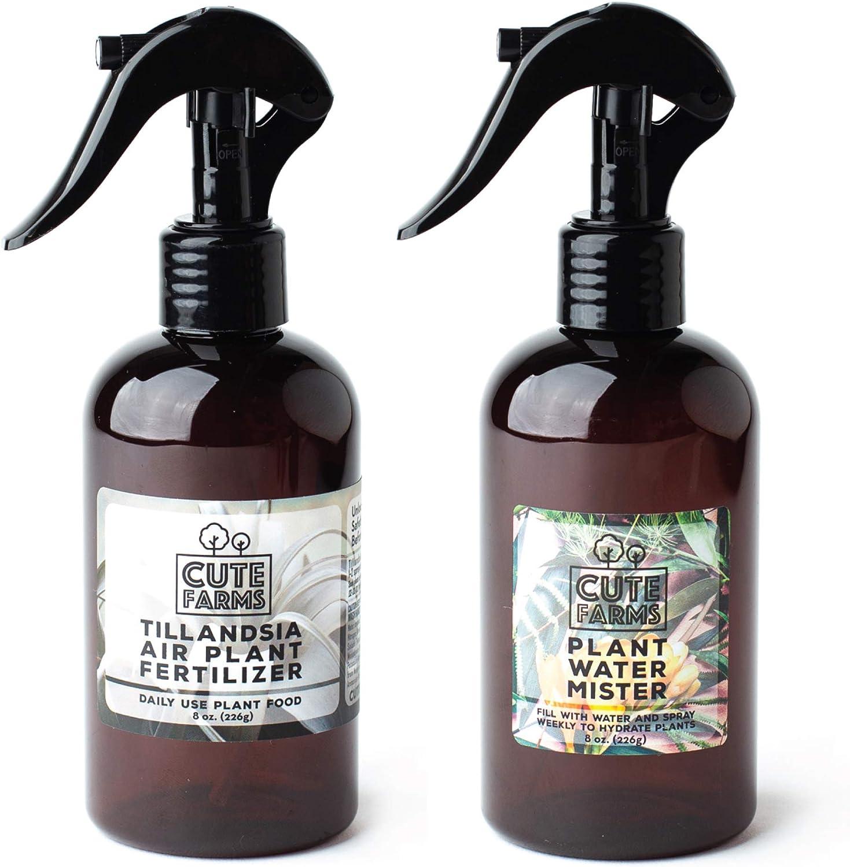 Cute Farms Tillandsia Air Plant Fertilizer | Gentle Daily Use Formula Plant Food (8 oz. Spray Bottle + ONE Fine Mist Water Sprayer)