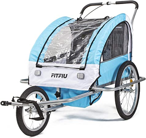 Fitfiu - BITRB Remolque de bicicleta convertible en carrito de paseo multideporte con protector de lluvia y viento, color azul: Amazon.es: Hogar
