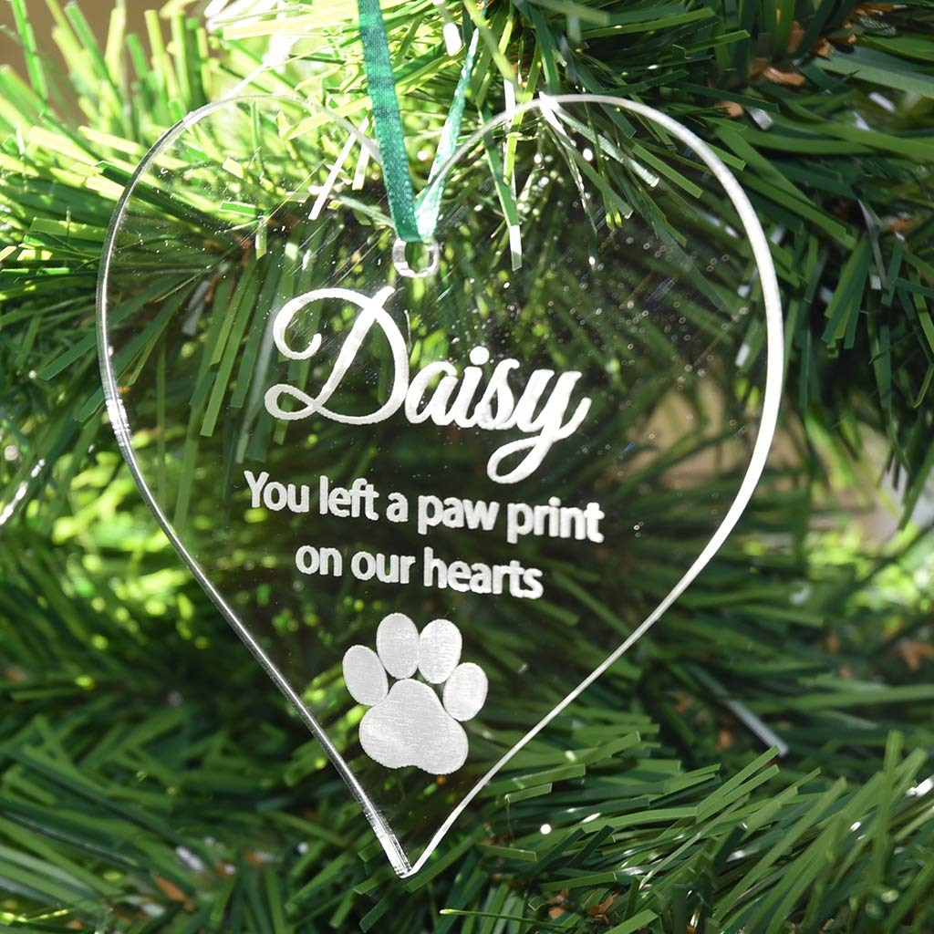 Personalised Pet Memorial Heart Christmas Bauble