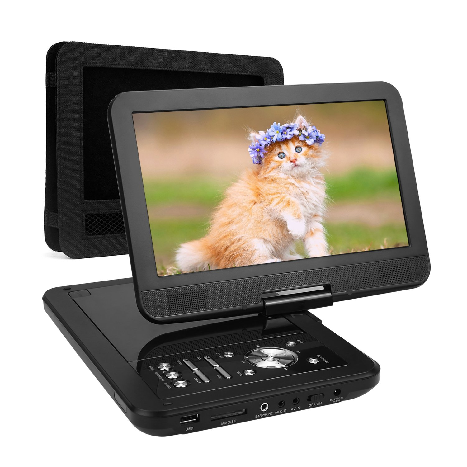 NAVISKAUTO 10.1 Inch Portable HD DVD Player Swivel Screen USB/SD with Car Headrest Mount Case and 5-Hour Built-In Rechargeable Battery