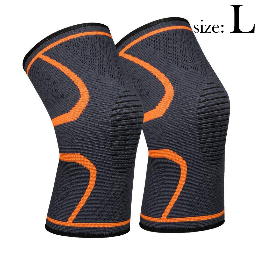 711TEK Knee Sleeve, Knee Support Brace for Joint Pain and Arthritis Relief, Improved Circulation Compression - Wear Anywhere (Orange-L-2Pcs)