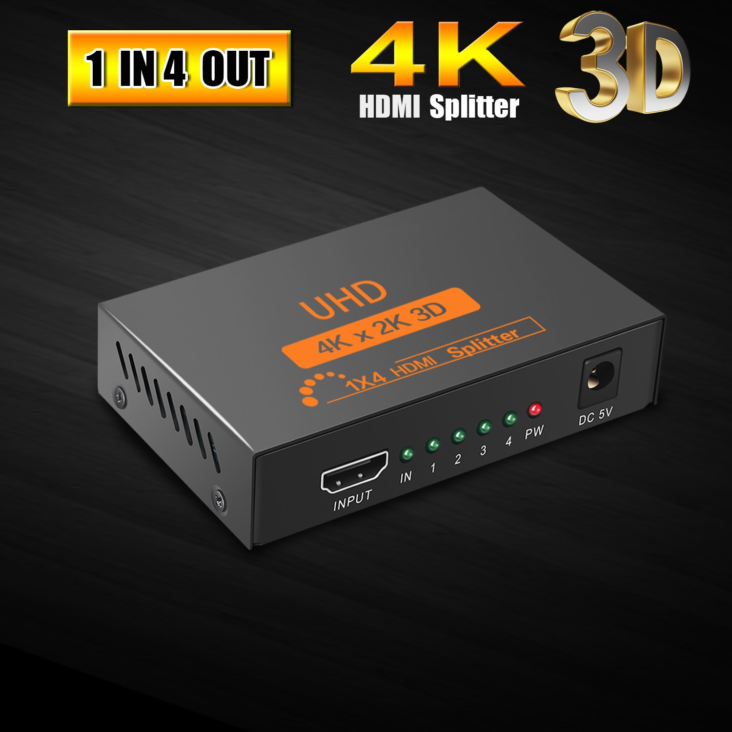 Huaka HDMI Splitter 4K, HDMI Powered Splitter 1 in 4 Out 4K X 2K 3D 1080P Signal Distributor with Metal Box US Adapter Included for HDTV PC PS4 Xbox Blue-ray etc [1 Input to 4 Output 2018 Version]