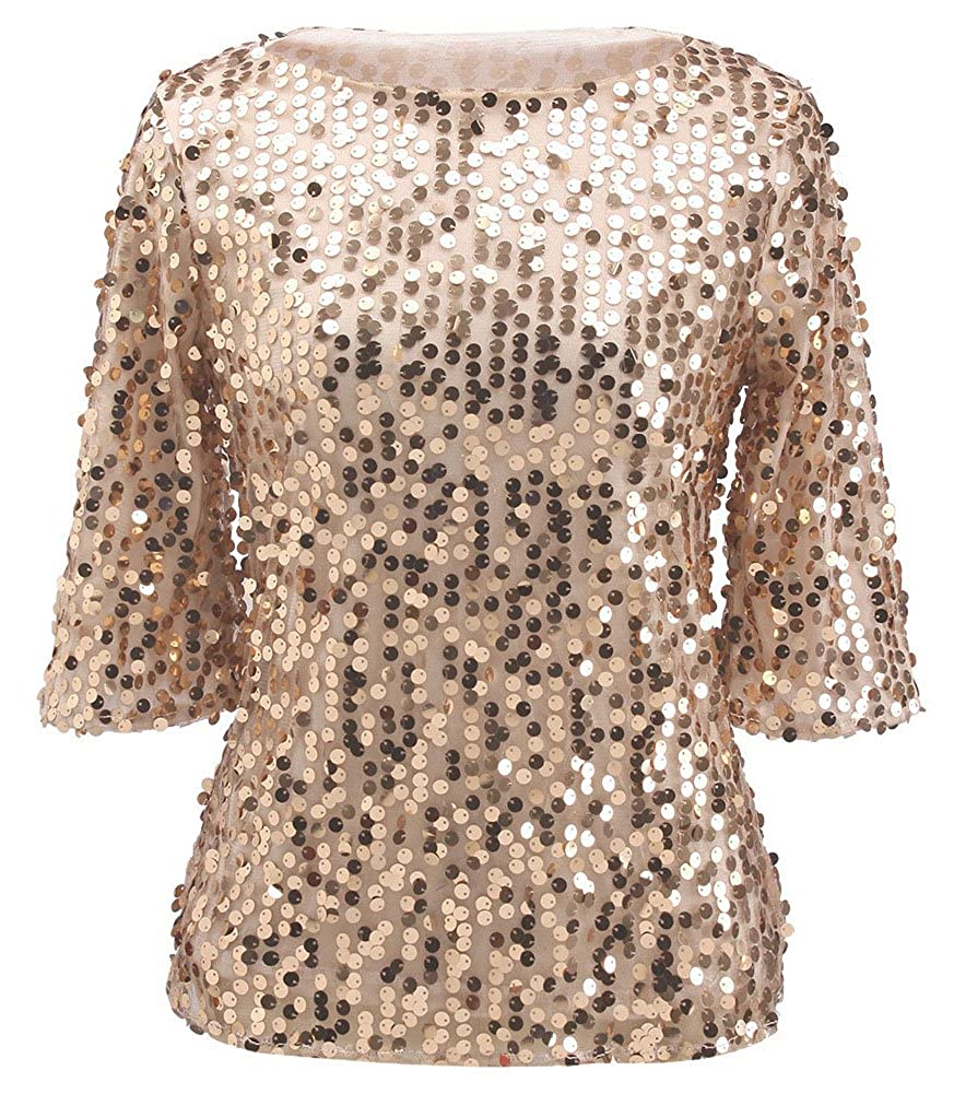 8fab6efc4e3de2 Womens Shimmer Glam Glitter Sequin Embellished Sparkle Blouse Top Shirt at  Amazon Women s Clothing store
