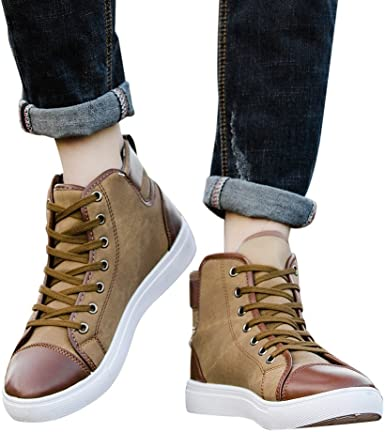 Unisex Casual Lace-Up Ankle Boots Shoes