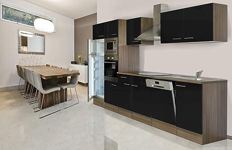 respekta CERAN – Cocina Equipada (340 cm, vitrocerámica York de Roble Negro del Horno