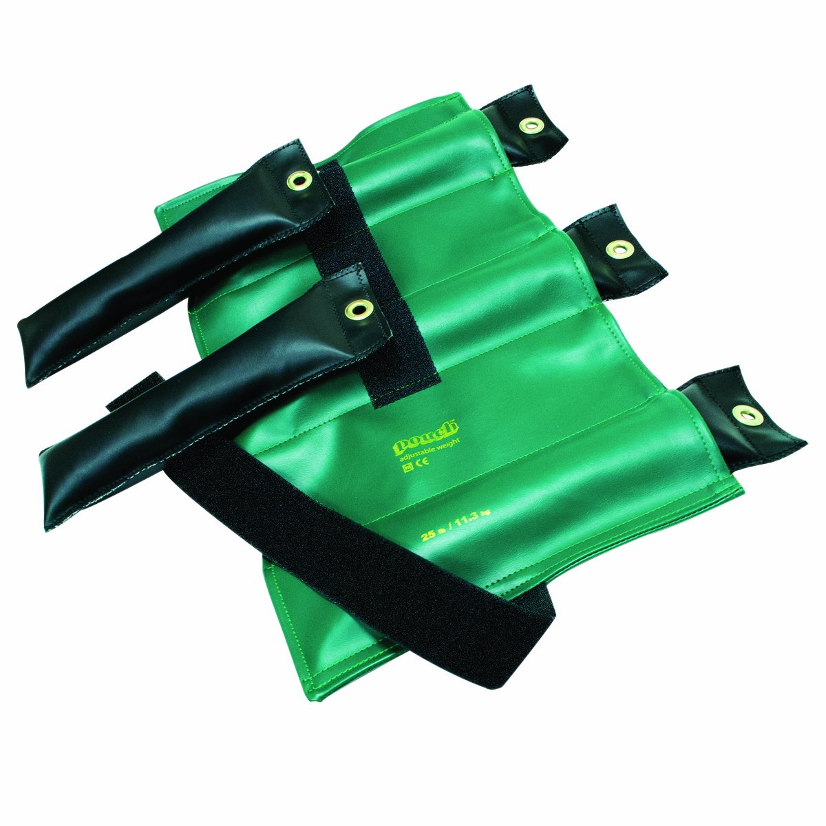 the Cuff 10-0305 Pouch Variable Wrist and Ankle Weight, 25 lb, 5 x 5 lb Inserts, Green