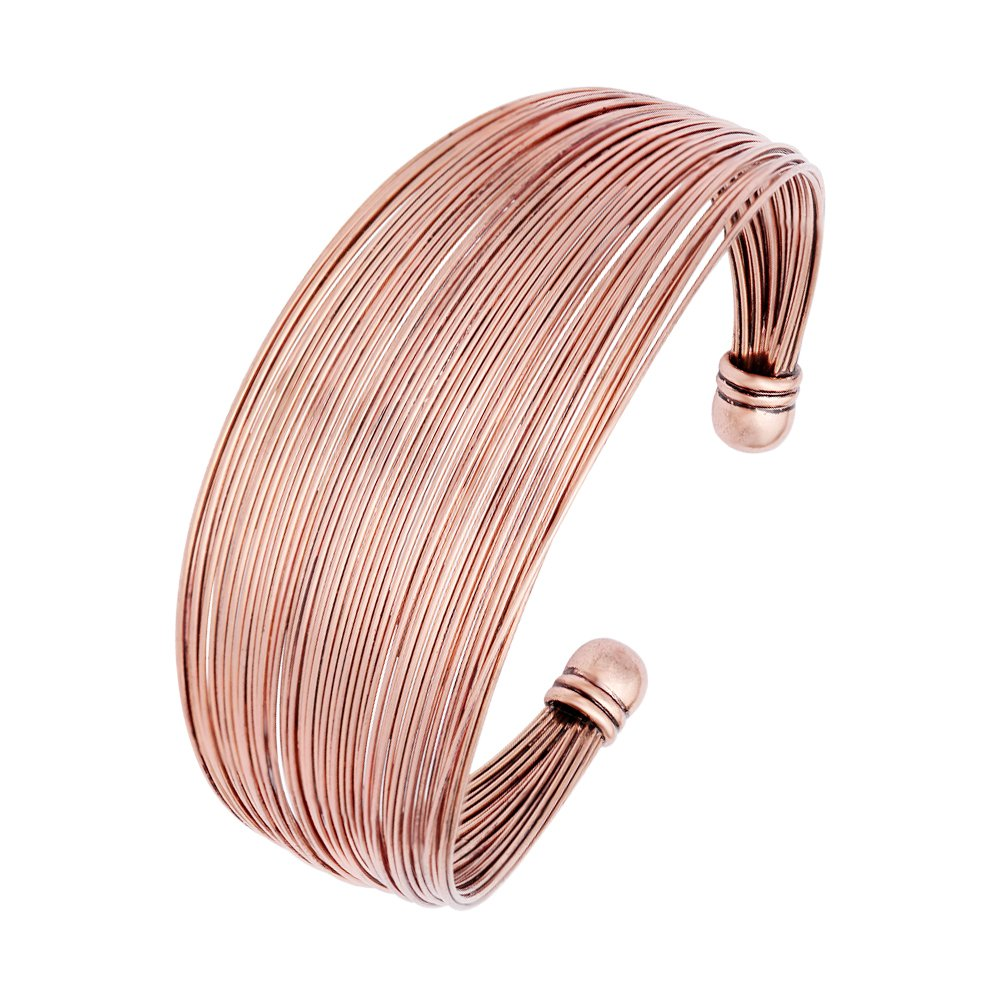 CHUANGYUN Egypt Cleopatra 80s Multi Memory Fine Wire Big Viking Cuff Bracelet Bangles Antique Style (Antique Red Copper)