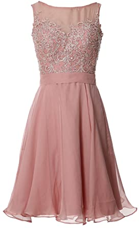 MACloth Women Bateau Lace Short Homecoming Cocktail Dress Evening Party Gown  (UK6, Blush Pink