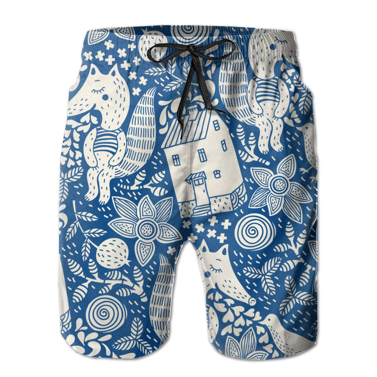 Cute Animals Mens Summer Swim Trunks 3D Graphic Quick Dry Funny Beach Board Shorts with Mesh Lining