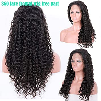 cf4d297ee 360 Lace Frontal Wigs Brazilian Curly Human Hair Wigs 150% Density Virgin  Human Hair Wigs