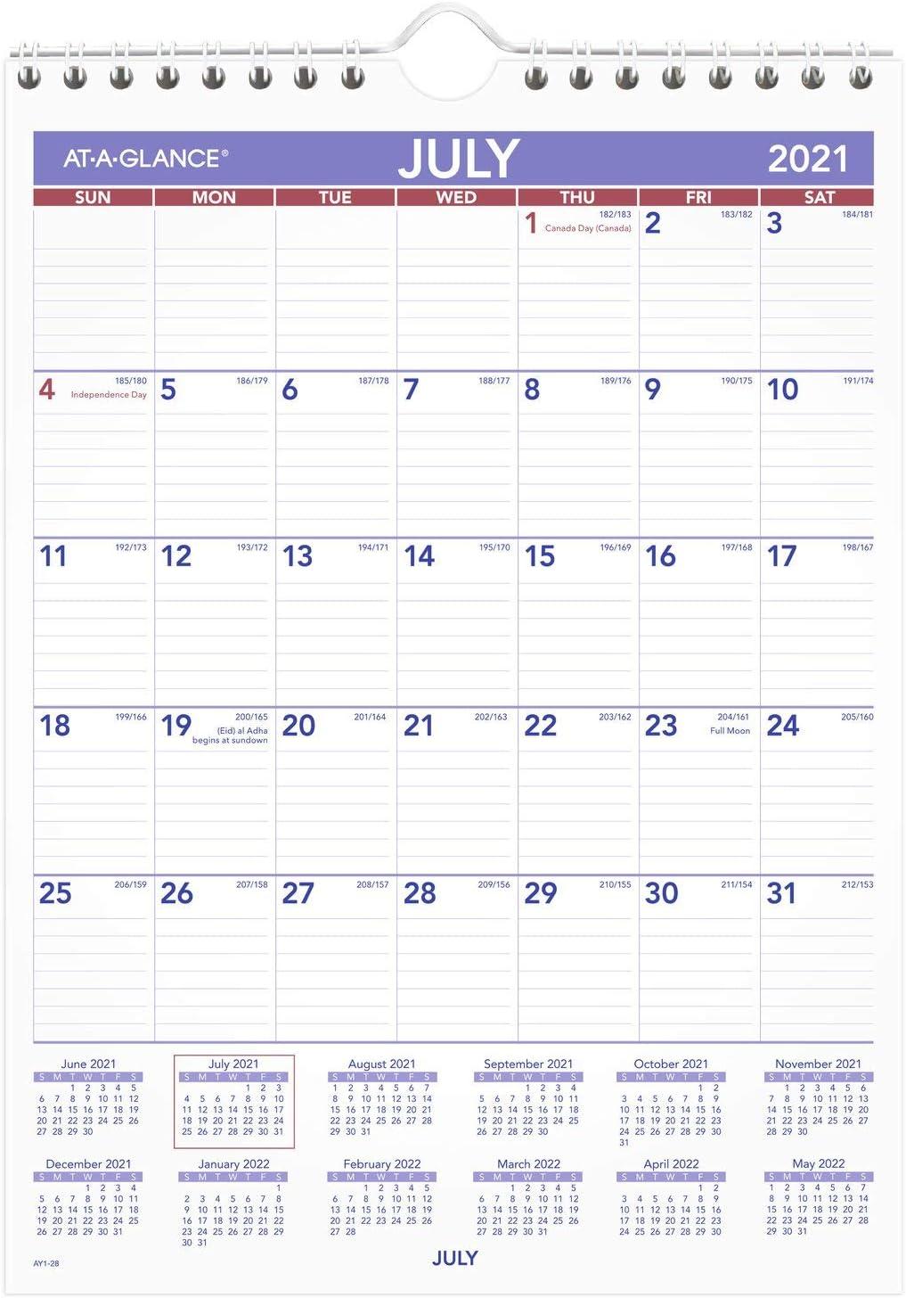 At A Glance Wall Calendar 2022.Amazon Com Academic Wall Calendar 2021 2022 At A Glance Monthly 11 X 8 Small For School Teacher Student Ay12822 Office Products