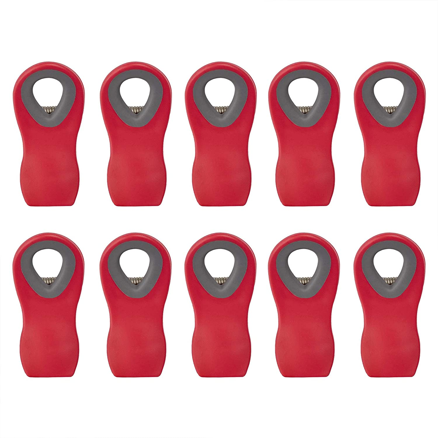 Cook with Color 10 Pc Bag Clips with Magnet, Food Clips, Chip Clips, Bag Clips for Food Storage with Air Tight Seal Grip for Bread Bags, Snack Bags and Food Bags (Red)