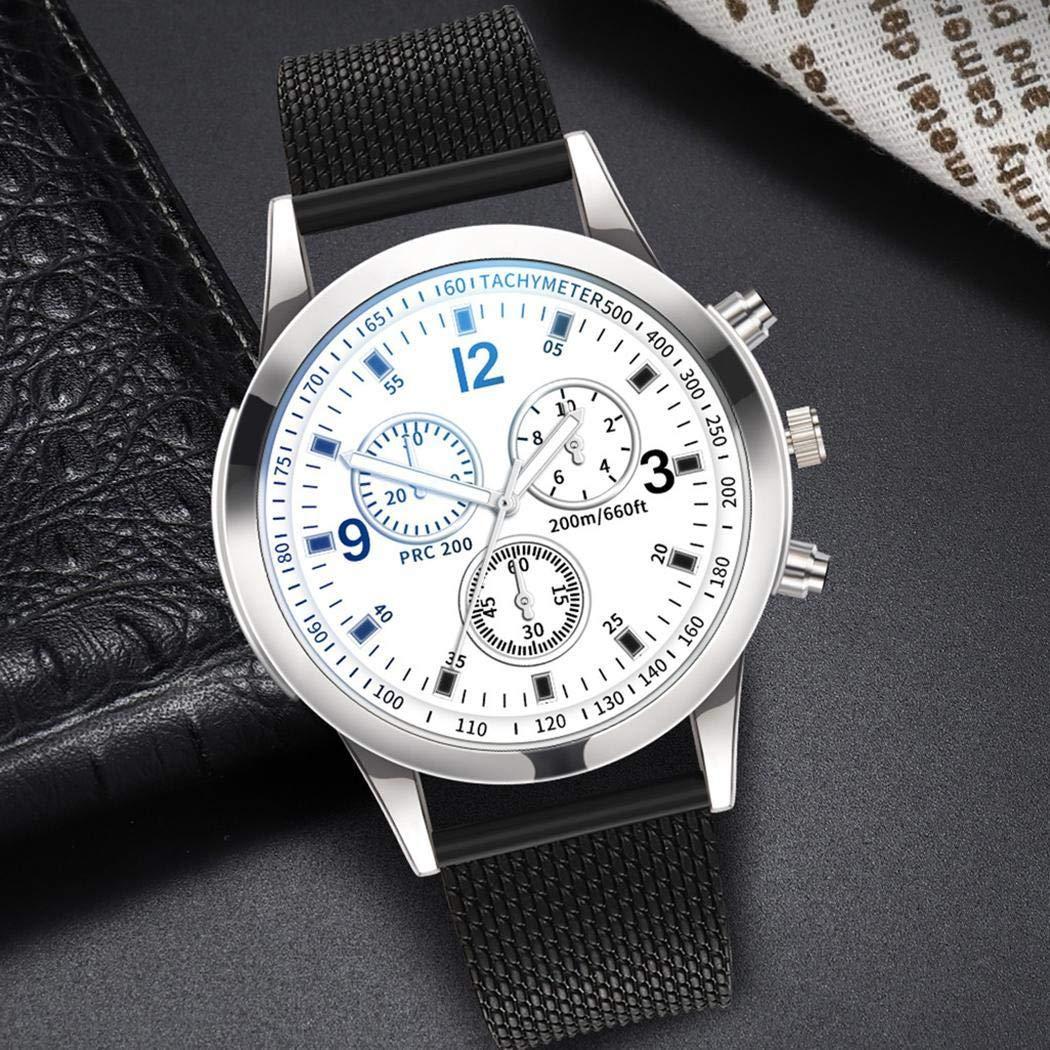 Amiubo Reloj de pulsera de cuarzo con cierre de hebilla plegable de forma redonda de moda unisex Relojes de pulsera