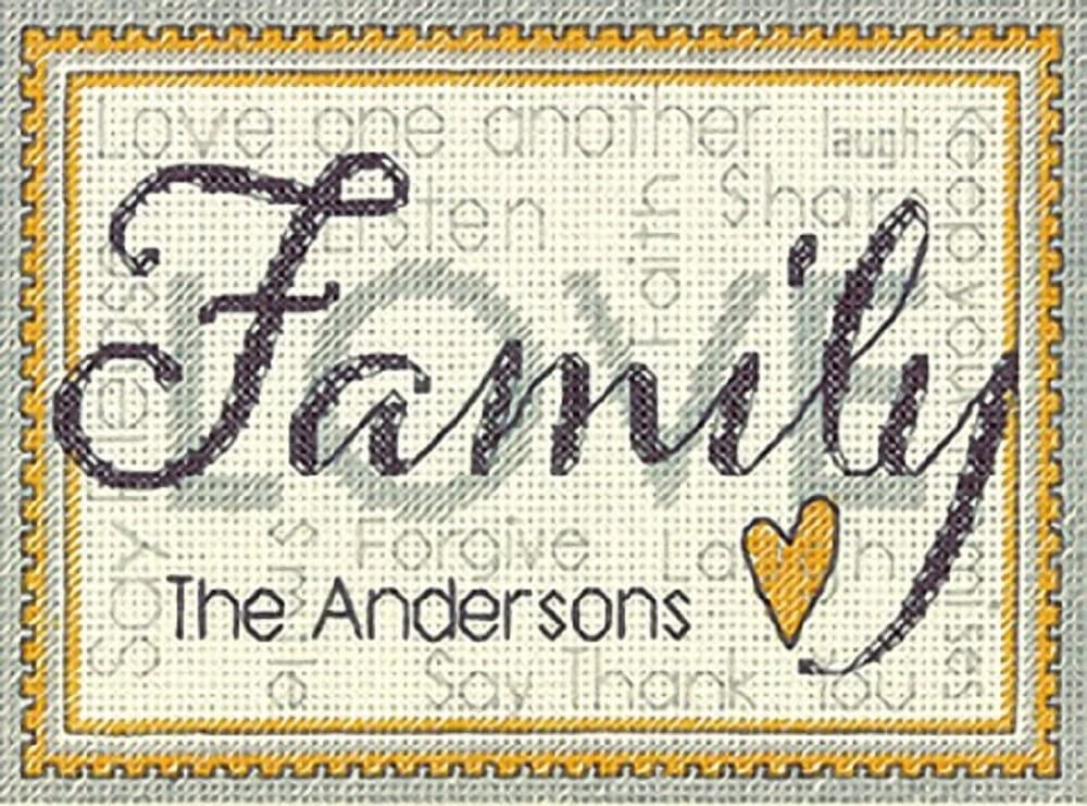 Amazon Com Dimensions Personalized Family Name Counted Cross Stitch Kit 7 X 5