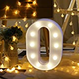 L-E-D Letter Lights Marquee Alphabet Light Up Letters Powered for Events Wedding Party Birthday Home Bar Decoration (white-O)