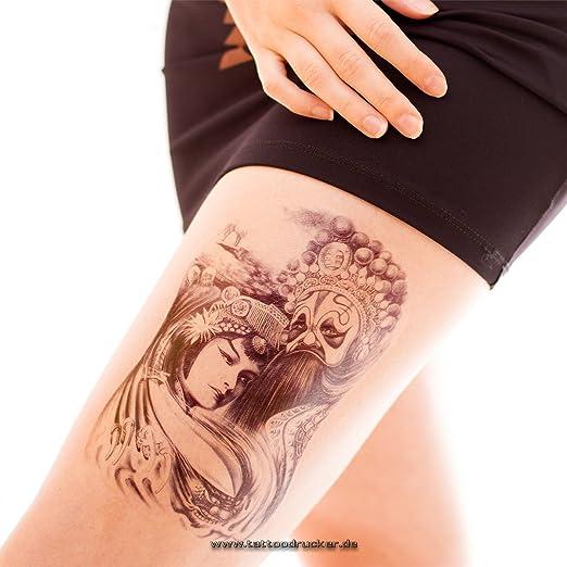 Tatuaje de geisha falso, grande y de color negro, HB-046, 1 ...